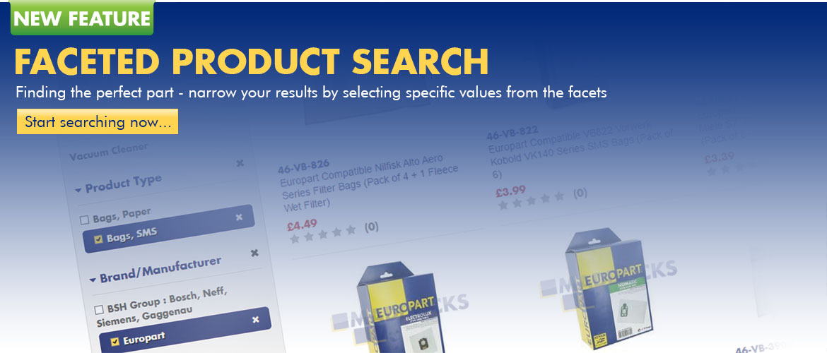 Easier To Locate Parts In The Product Range Via The Faceted Search